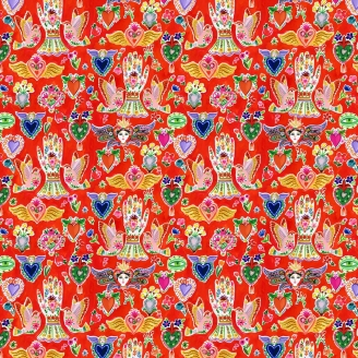 Tissu patchwork Miracle rouge (madone, ange, colombes) - Viva Mexico