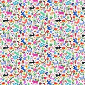 Tissu patchwork animaux multicolores fond blanc - Viva Mexico