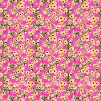 Tissu patchwork petites fleurs jaunes fond fuchsia - Viva Mexico