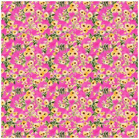 Tissu patchwork petites fleurs jaunes fod fuchsia - Viva Mexico