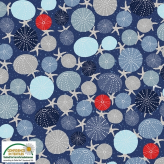 Tissu patchwork oursins et étoiles de mer fond bleu - Looking for sea life