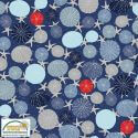 Tissu patchwork oursins et étoiles de mer fond bleu - Looking for sea life