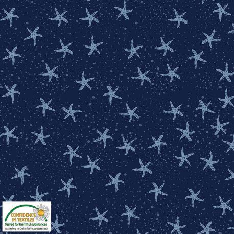 Tissu patchwork étoiles de mer fond marine - Looking for sea life