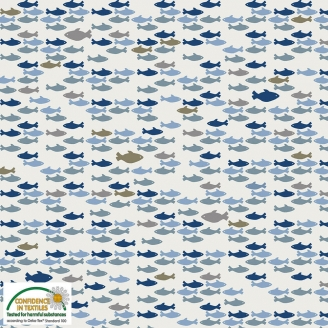 Tissu patchwork banc de poissons fond gris clair - Looking for sea life