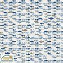 Tissu patchwork banc de poissons fond gris clair - Looking for sea life