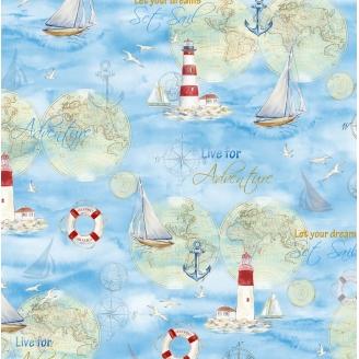 "Tissu patchwork ""prendre le large"" (phares, bateaux, ancres) - Harbor lights"