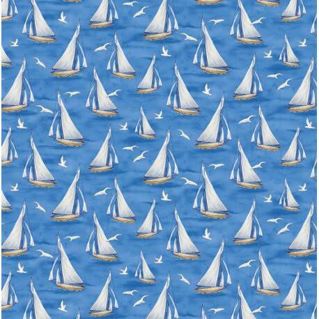 Tissu patchwork voiliers et mouettes - Harbor lights