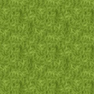 Tissu patchwork feuillage vert ton-sur-ton