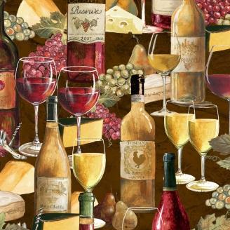 Tissu patchwork vins et fromages