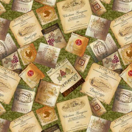Tissu patchwork étiquettes de bouteilles de vins