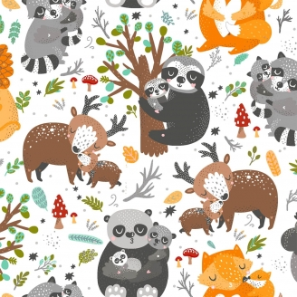 Tissu patchwork animaux câlins fond blanc