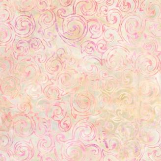 Tissu batik vigne rose fond écru naturel