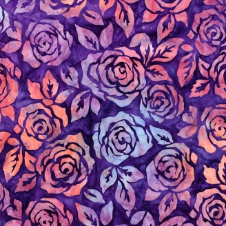Tissu batik roseraie fond violet