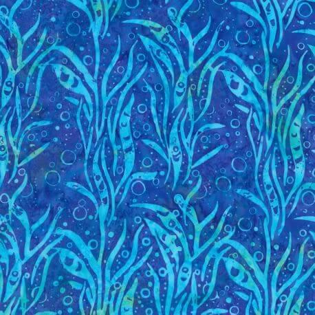 Tissu batik plantes aquatiques turquoise fond bleu