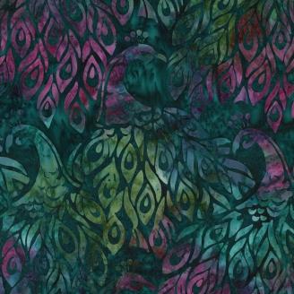 Tissu batik paon vert émeraude