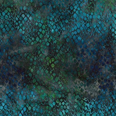 Tissu batik écailles vert émeraude