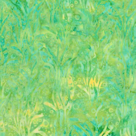 Tissu batik plantes aquatiques vert citron