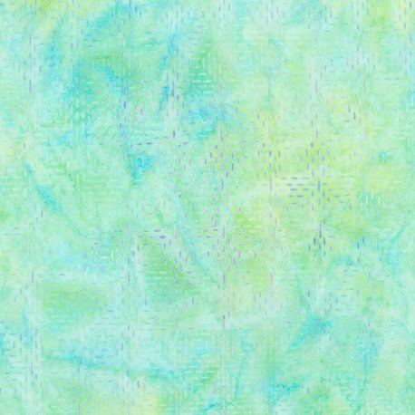 Tissu batik tirets en carrés vert lagon