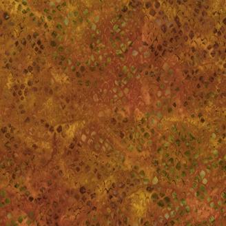 Tissu batik écailles marron-vert