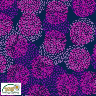Tissu patchwork anémones fuchsia fond marine - Sea the good things