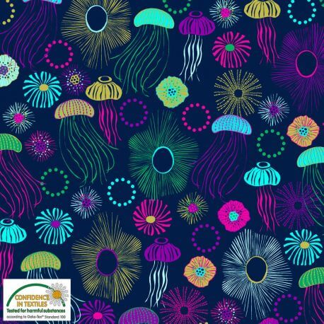 Tissu patchwork le bal des méduses fond marine - Sea the good things