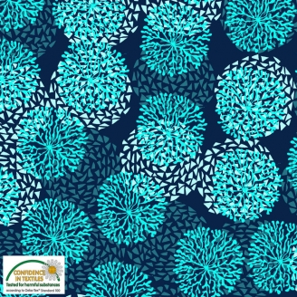 Tissu patchwork anémones turquoise fond marine - Sea the good things