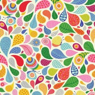 Tissu patchwork papillons et feuilles fantaisie multicolores fond blanc