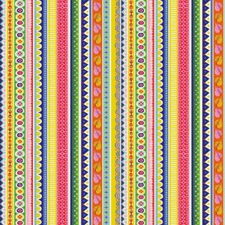 Tissu patchwork rayures fantaisie multicolores fond blanc