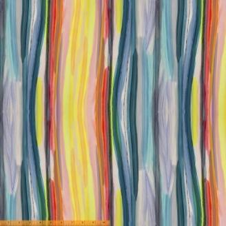 Tissu patchwork gris bleu et jaune transitions abstraites - Horizon