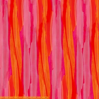 Tissu patchwork rose, rouge et orange transitions abstraites - Horizon