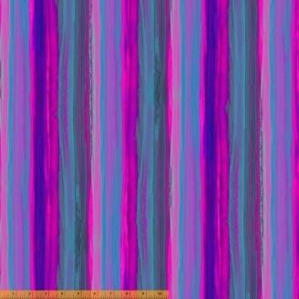 Tissu patchwork bleu et violine transitions abstraites - Horizon