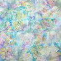 Tissu batik grandes fleurs ocre mauve fond turquoise