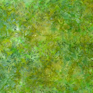 Tissu Batik feuillage vert gazon