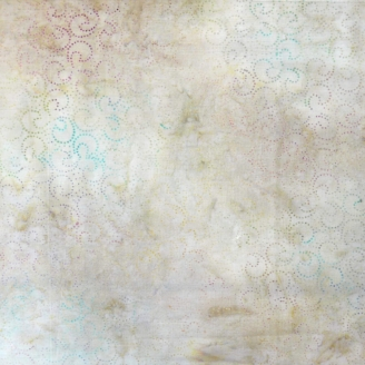 Tissu batik virgules multicolores fond écru