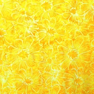 Tissu batik grandes fleurs en ton sur ton jaune