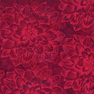 Tissu batik grands dahlias rouge velours