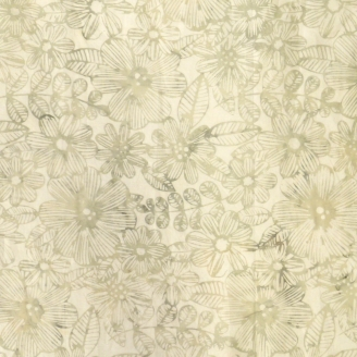 Tissu batik fleurs écrues ton sur ton