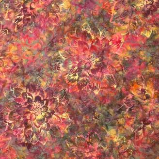 Tissu batik grands dahlias kaki rose