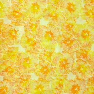 Tissu batik fleur rayonnante jaune