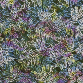 Tissu batik buisson bleu violet fond vert foncé
