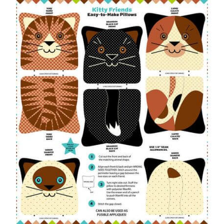 Coussins à coudre Chats ( Kitty friends)