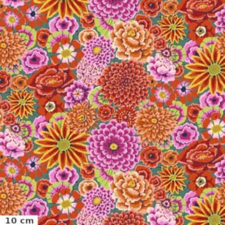 Tissu Kaffe Fassett grandes fleurs Enchanted fond rouge GP172