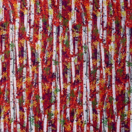 Tissu patchwork forêt de bouleaux en Octobre