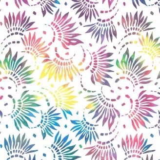 Tissu patchwork grande largeur pétales multicolores fond blanc (10 x 270 cm)
