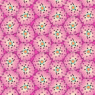 Tissu patchwork oursins fond fuchsia - Reef