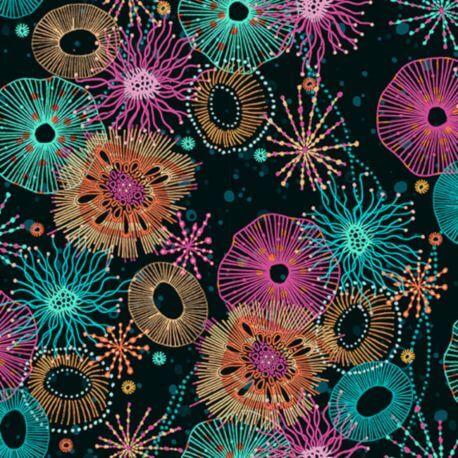 Tissu patchwork récif fond noir - Reef