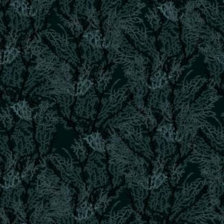Tissu patchwork algues fond noir - Reef