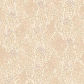 Tissu patchwork algues fond écru - Reef