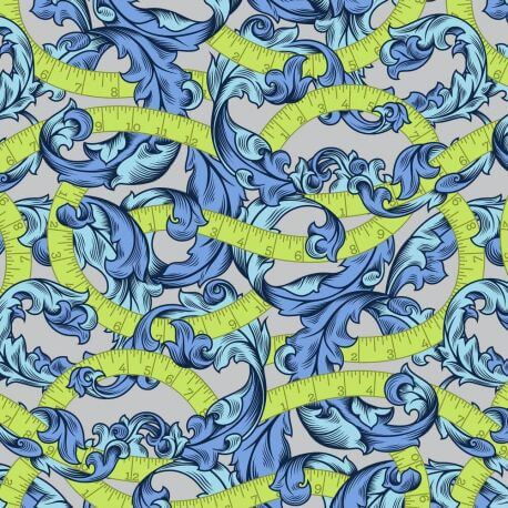 Tissu grande largeur rubans verts et feuilles bleues - Homemade de Tula Pink
