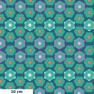 Tissu patchwork fleurs hexagonales vertes fond bleu denim d'Anna Maria Horner